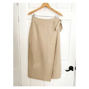 BANANA REPUBLIC KHAKI WRAP LINEN SKIRT